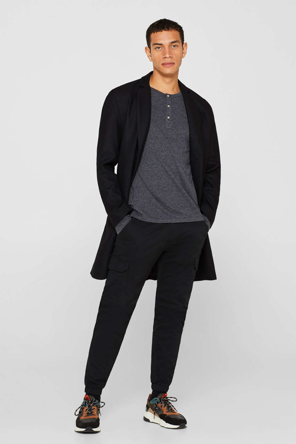 Henley-style long sleeve top, BLACK, detail image number 2