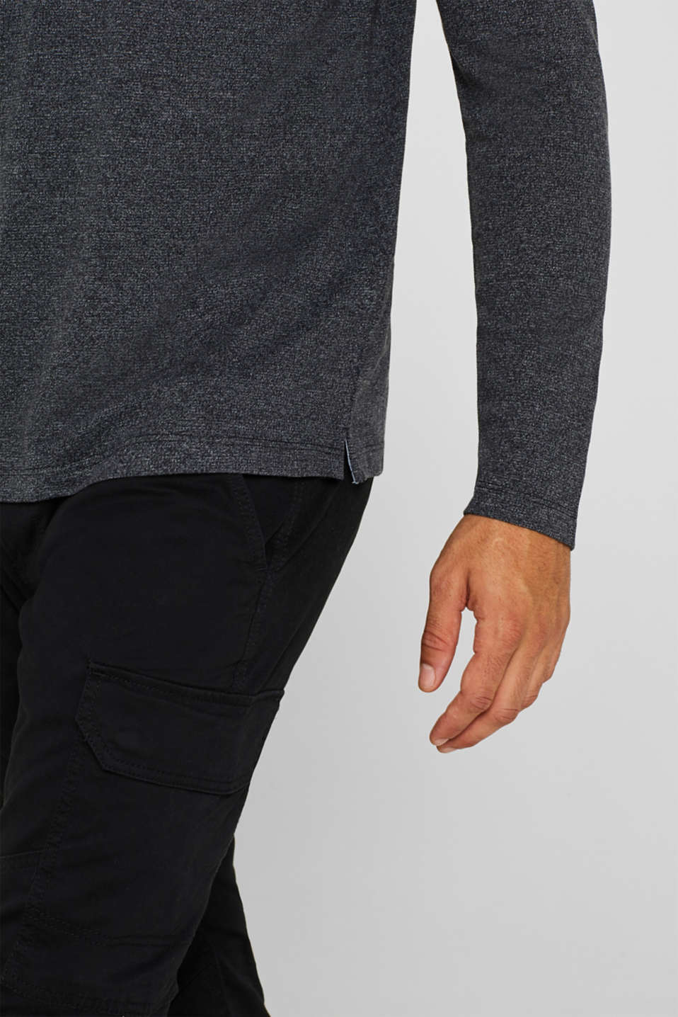 Henley-style long sleeve top, BLACK, detail image number 1