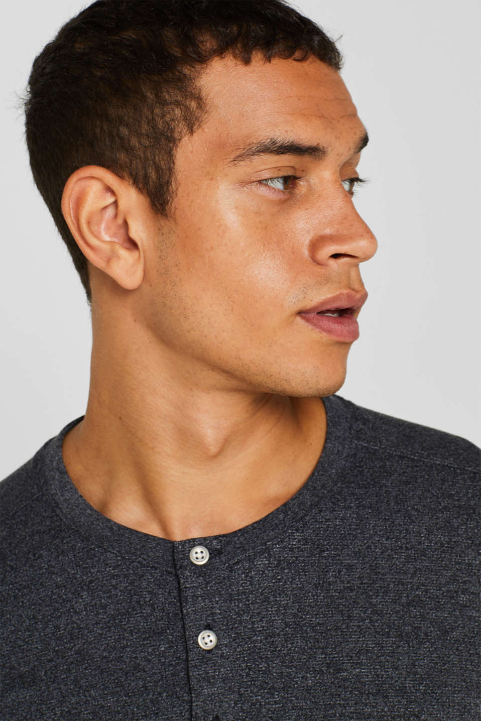 Henley-style long sleeve top, BLACK, detail image number 5