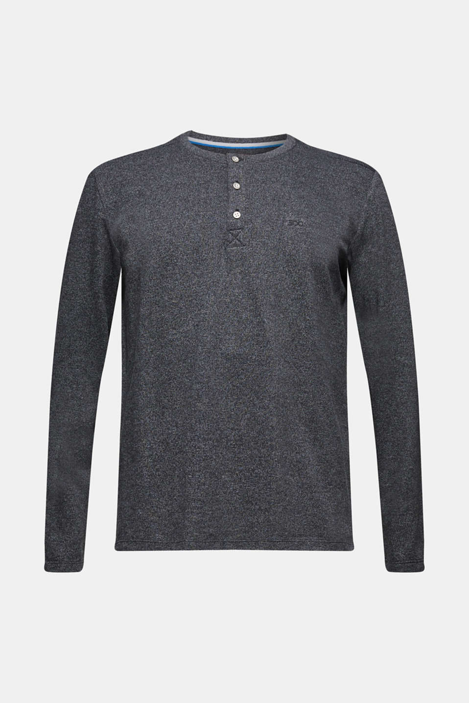 Henley-style long sleeve top, BLACK, detail image number 6