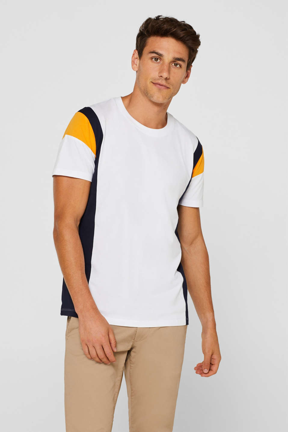 Colour block jersey T-shirt, 100% cotton, WHITE, detail image number 0