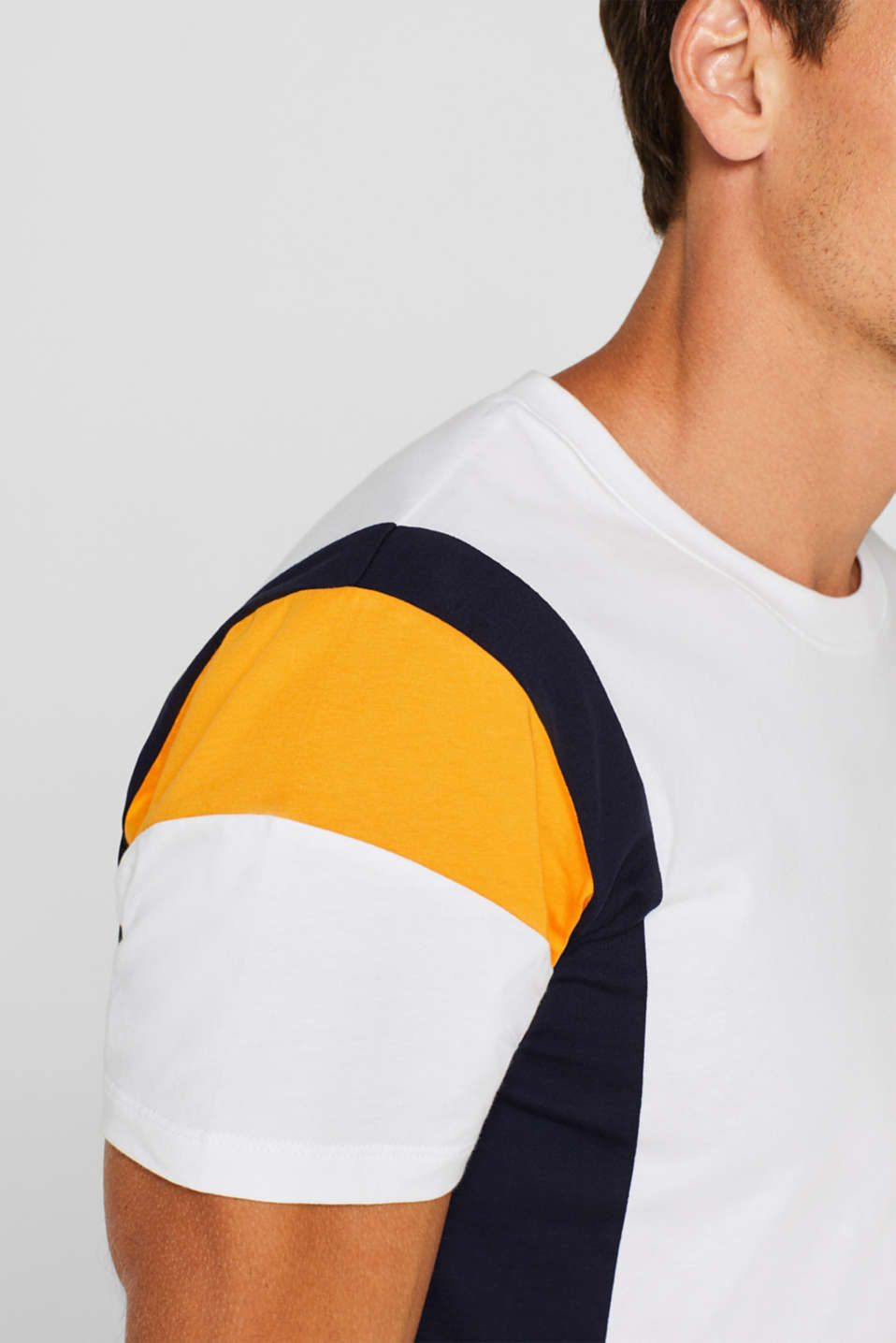 Colour block jersey T-shirt, 100% cotton, WHITE, detail image number 1