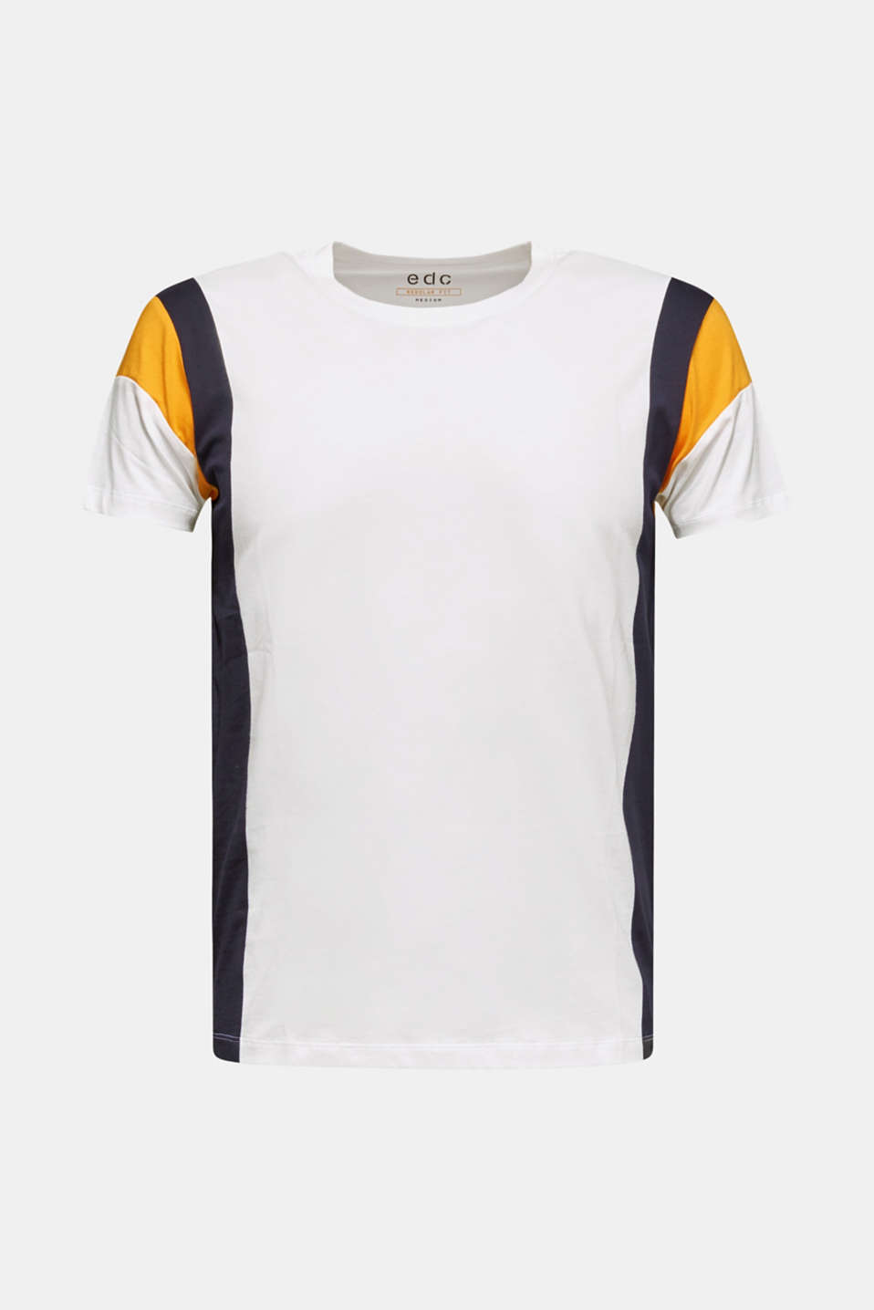Colour block jersey T-shirt, 100% cotton, WHITE, detail image number 5