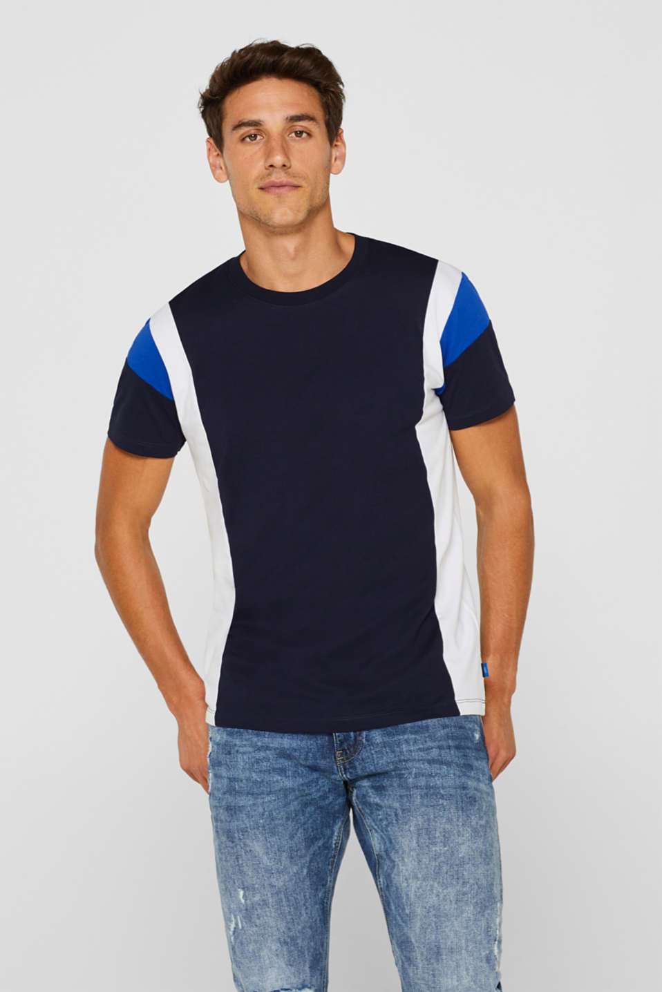 edc - Jersey shirt met colour blocks, 100% katoen