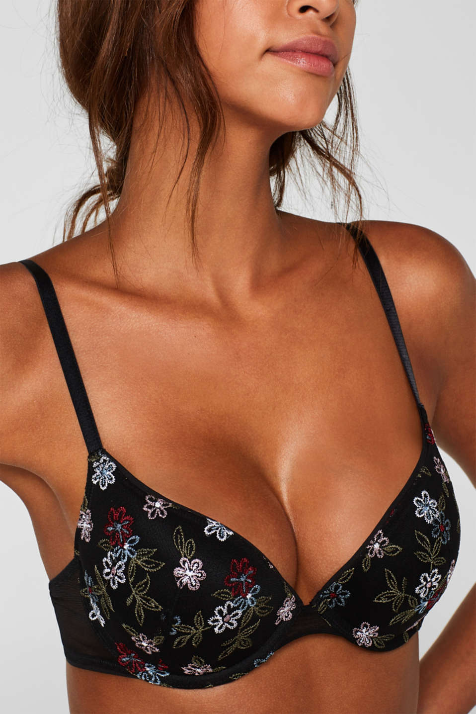 Push-up bra with floral embroidery, BLACK, detail image number 2