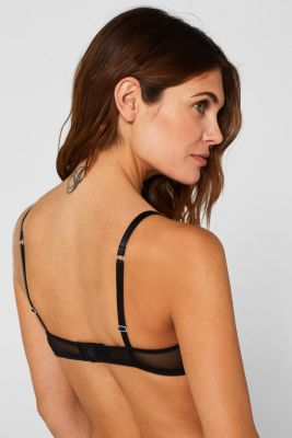Padded non-wired bra with embroidery, BLACK, detail