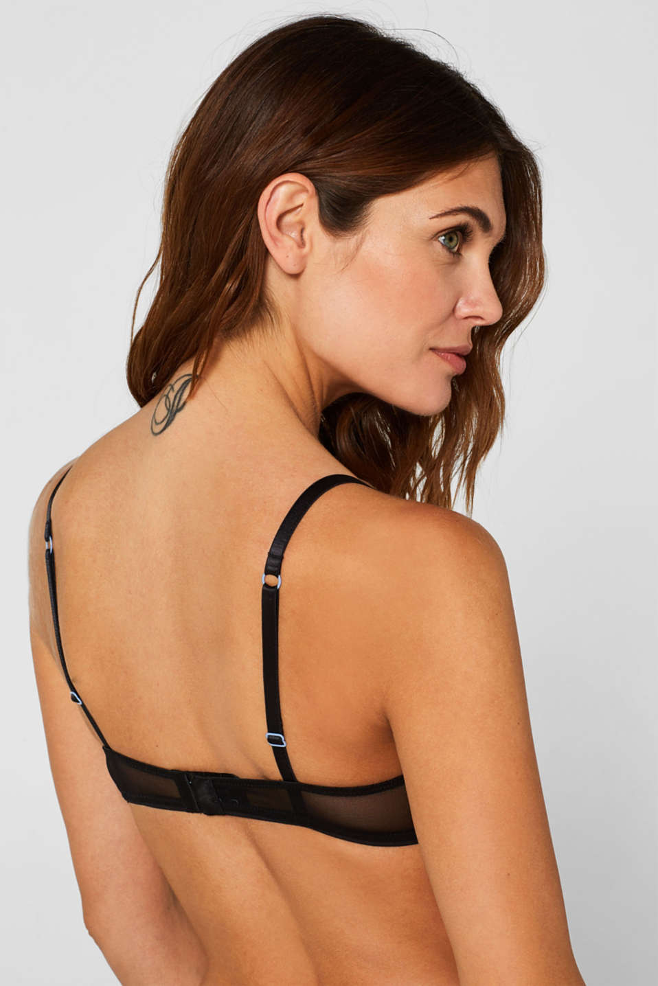 Padded non-wired bra with embroidery, BLACK, detail image number 4