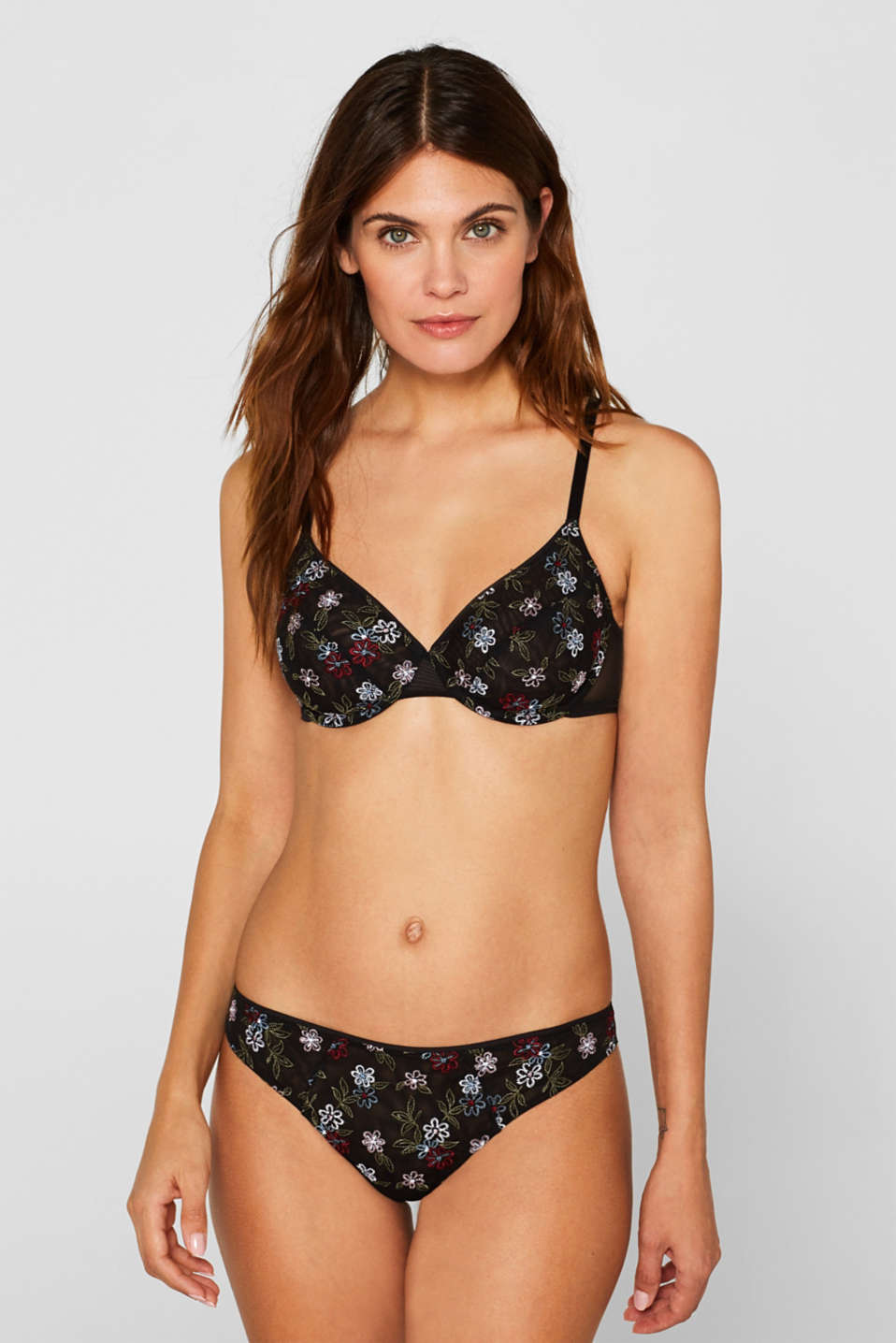 Non-padded underwire bra with embroidery, BLACK, detail image number 0