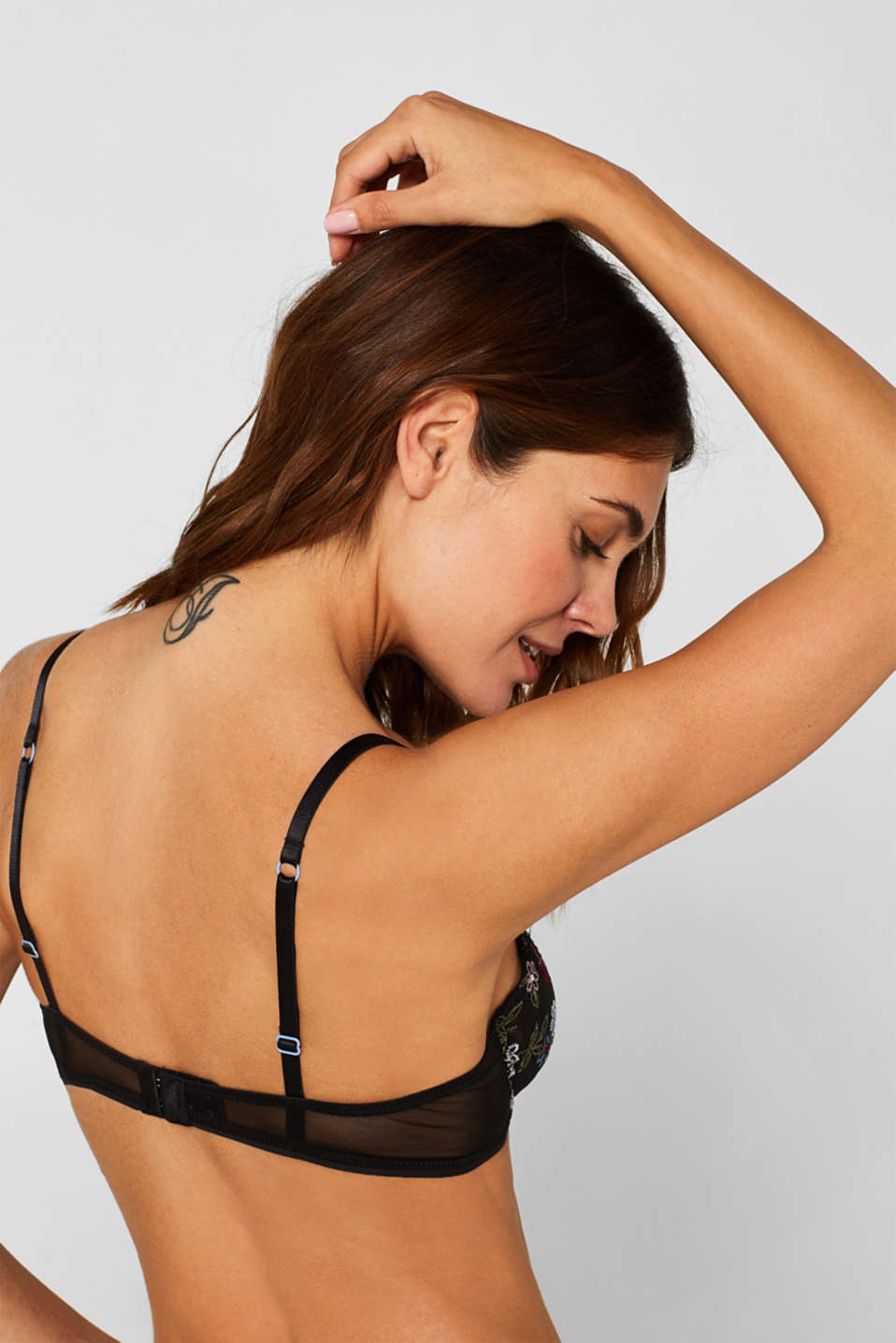 Non-padded underwire bra with embroidery, BLACK, detail image number 3