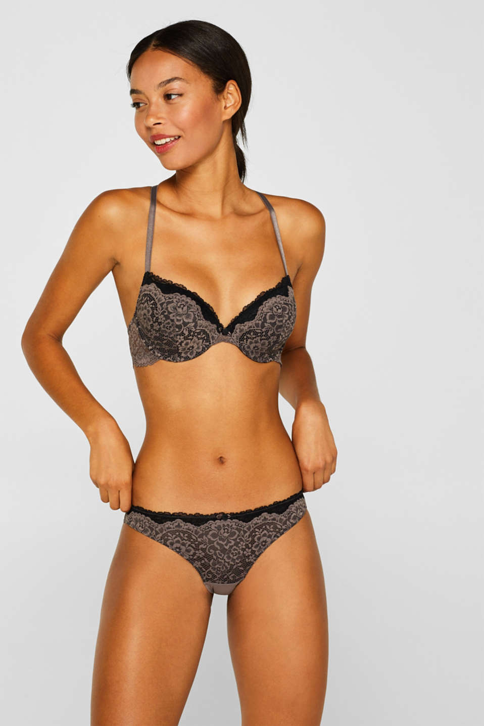 Padded underwire bra in two kinds of lace, TAUPE, detail image number 2