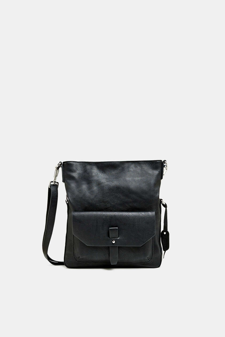 Flapover bag in faux leather, BLACK, detail image number 0