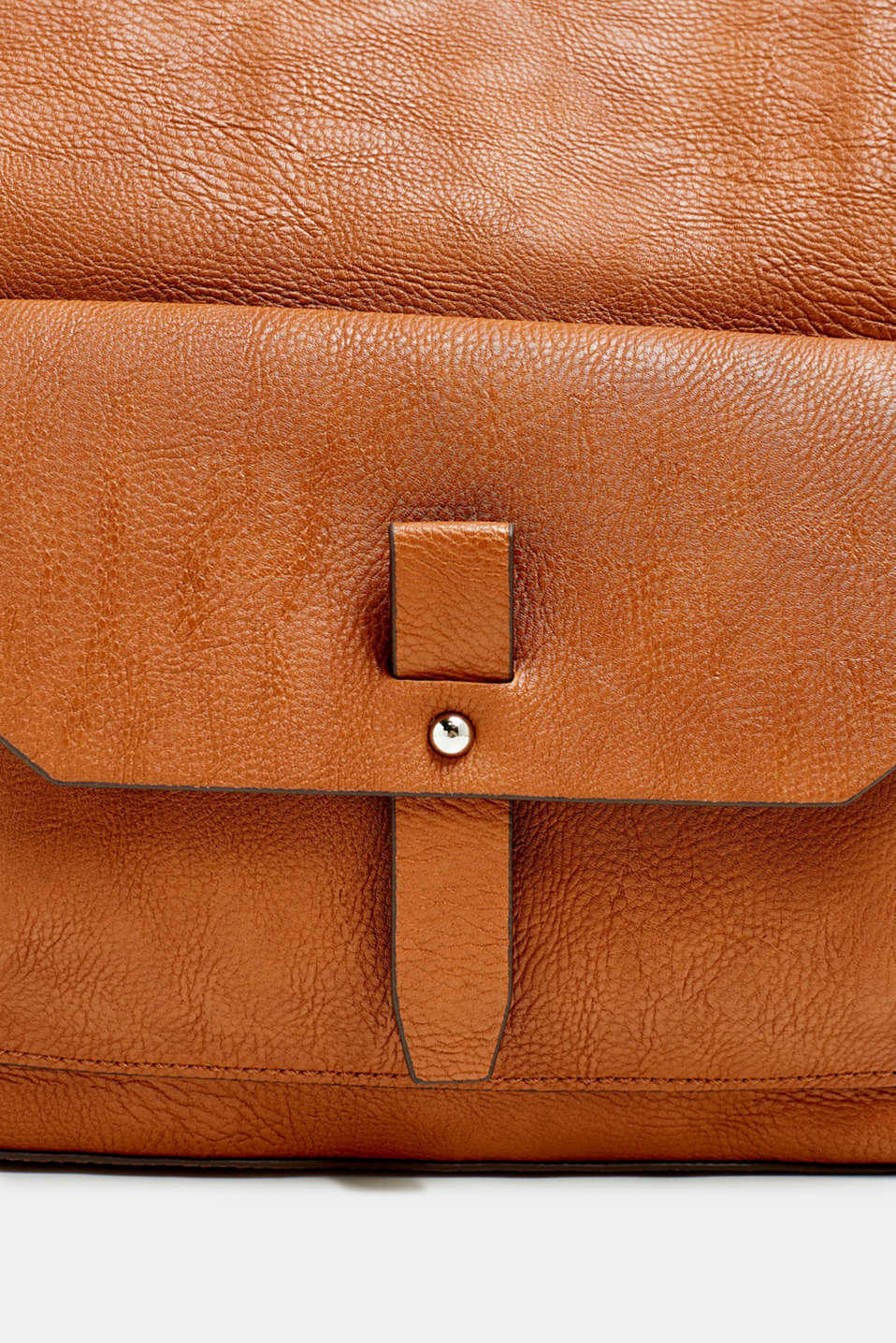 Flapover bag in faux leather, RUST BROWN, detail image number 3