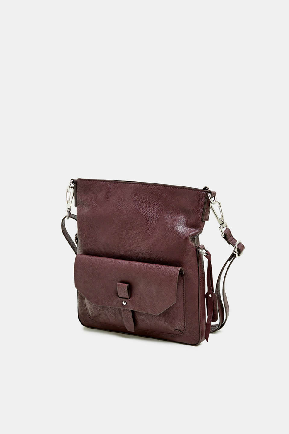 Flapover bag in faux leather, BORDEAUX RED, detail image number 2