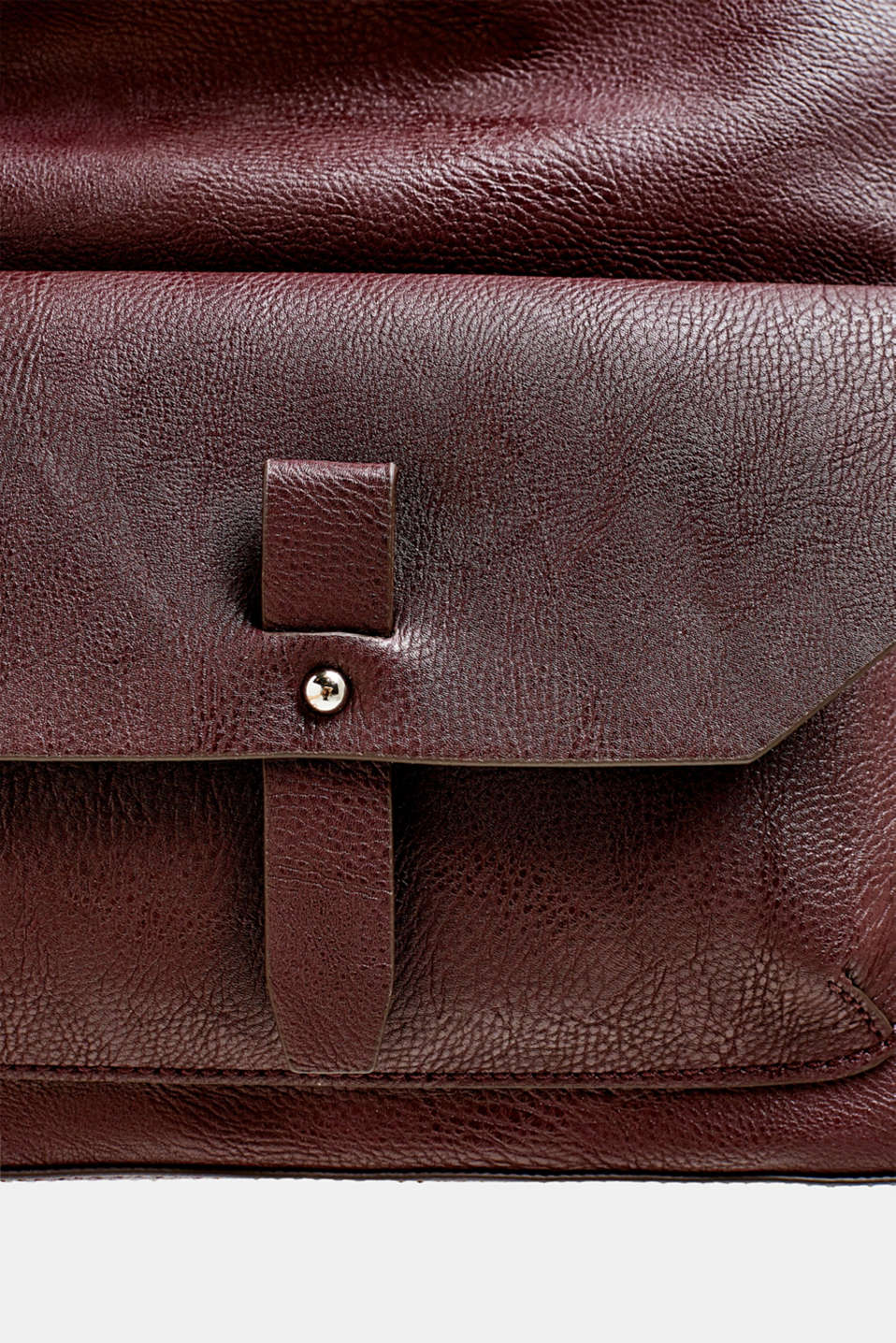 Flapover bag in faux leather, BORDEAUX RED, detail image number 3