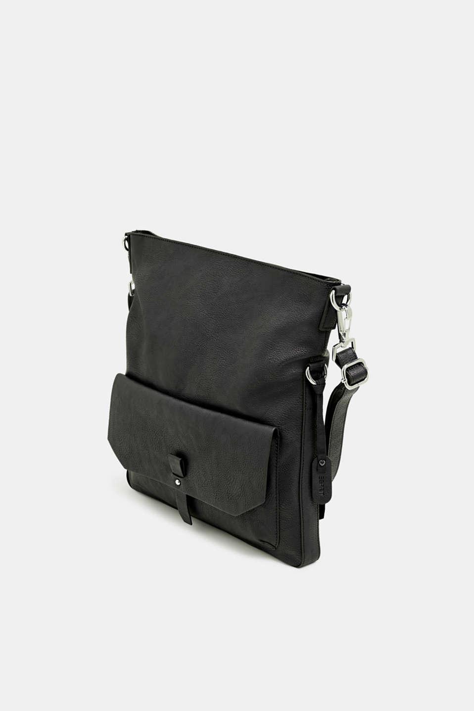 Adjustable faux leather shoulder bag, BLACK, detail image number 2