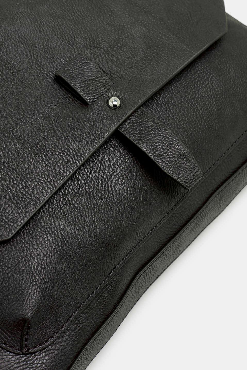 Adjustable faux leather shoulder bag, BLACK, detail image number 3