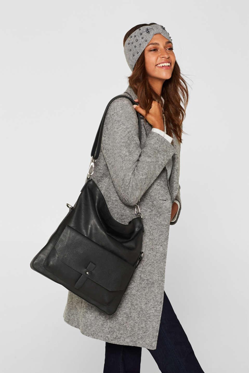 Adjustable faux leather shoulder bag, BLACK, detail image number 1