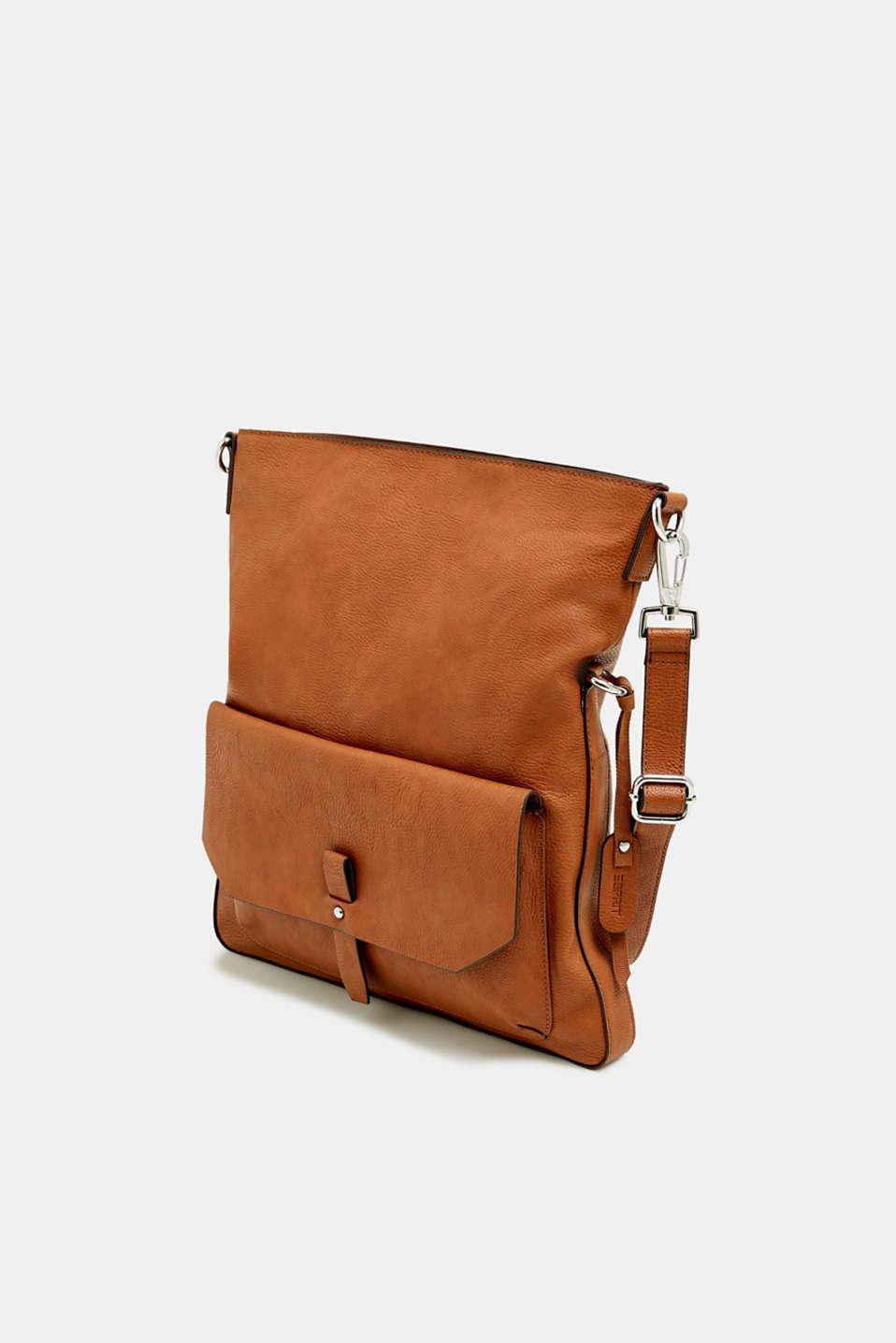 Adjustable faux leather shoulder bag, RUST BROWN, detail image number 2