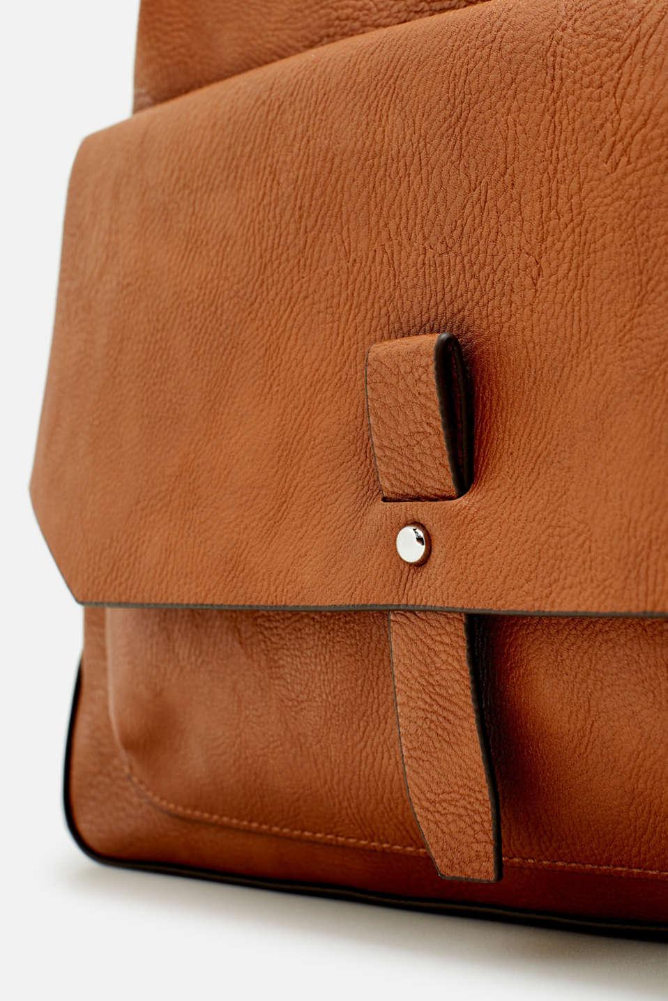Adjustable faux leather shoulder bag, RUST BROWN, detail image number 3