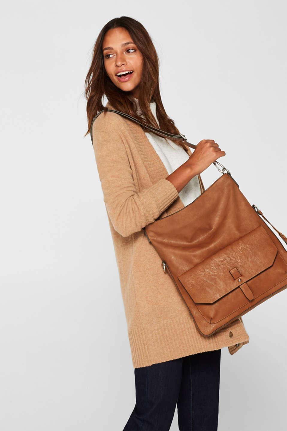 Adjustable faux leather shoulder bag, RUST BROWN, detail image number 1