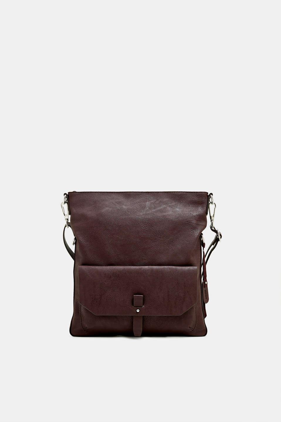 Adjustable faux leather shoulder bag, BORDEAUX RED, detail image number 0