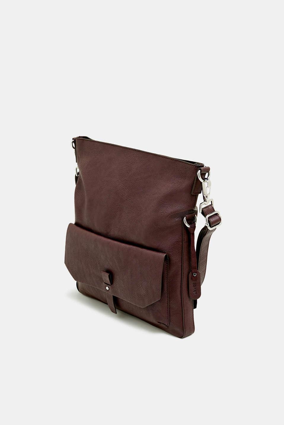Adjustable faux leather shoulder bag, BORDEAUX RED, detail image number 2