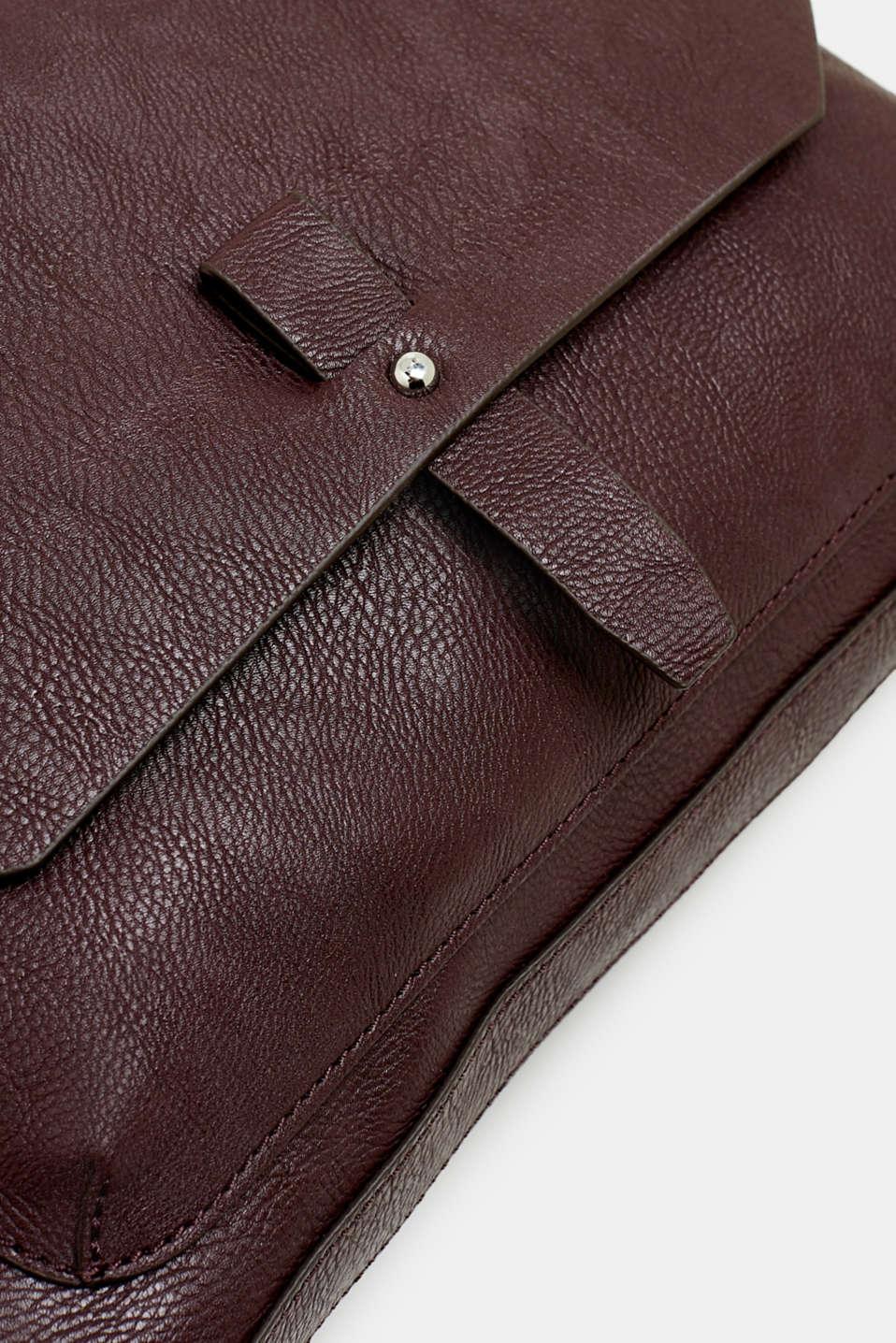 Adjustable faux leather shoulder bag, BORDEAUX RED, detail image number 3