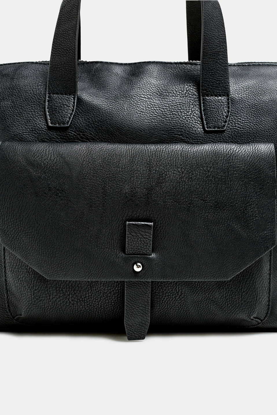 Working bag in faux leather, BLACK, detail image number 3
