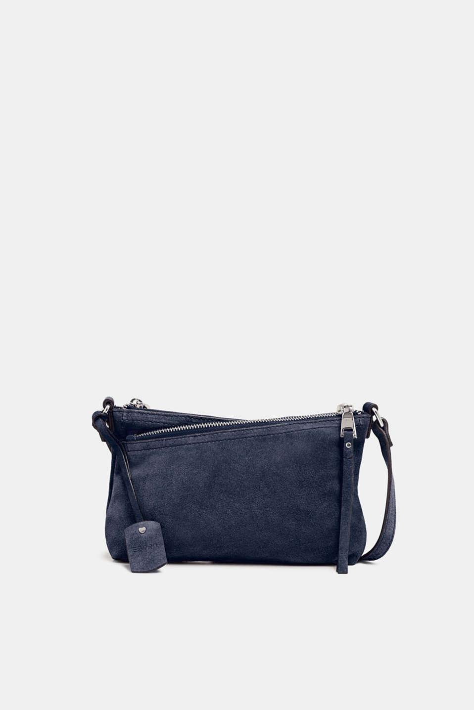 Suede shoulder bag, NAVY, detail image number 0