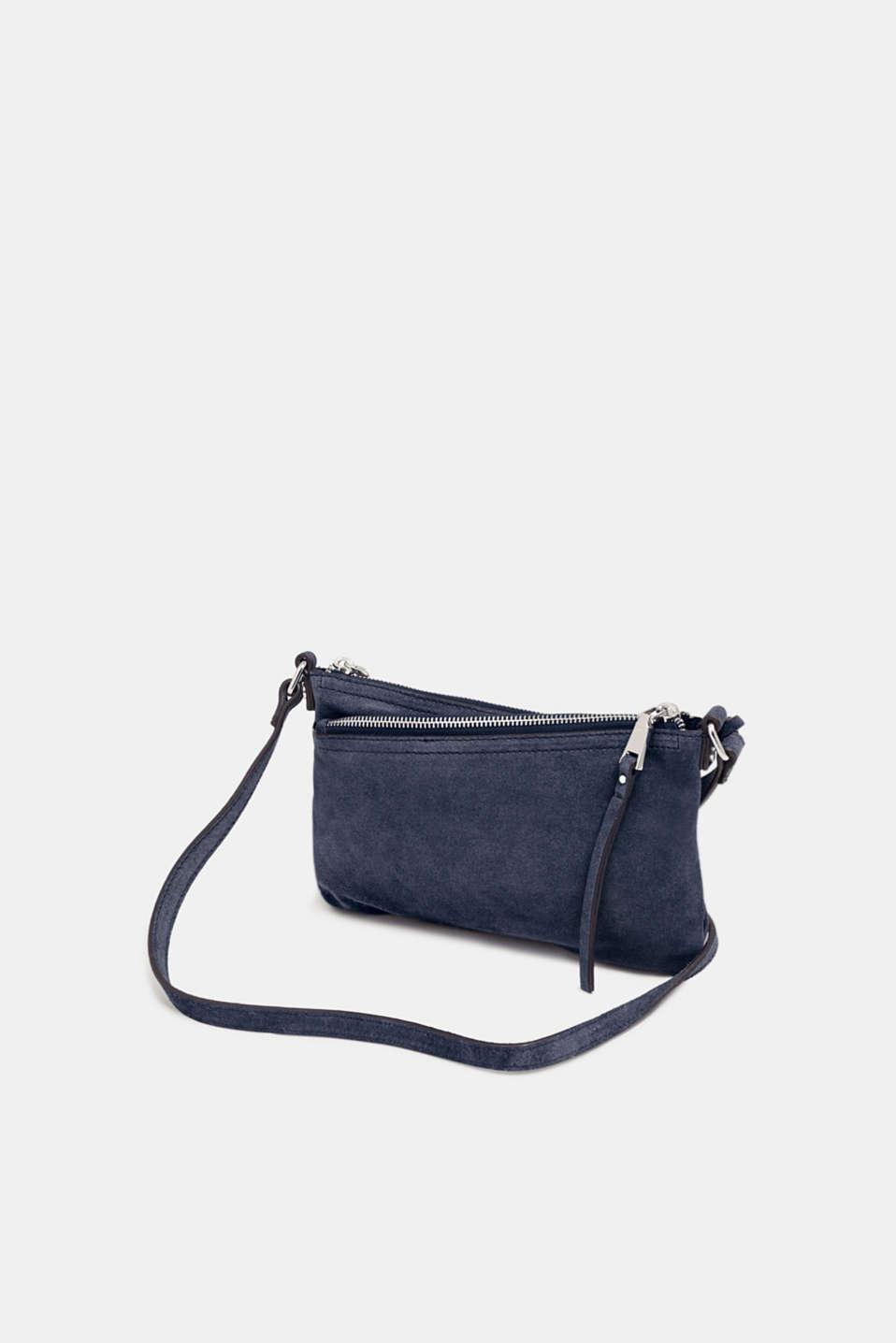 Suede shoulder bag, NAVY, detail image number 4