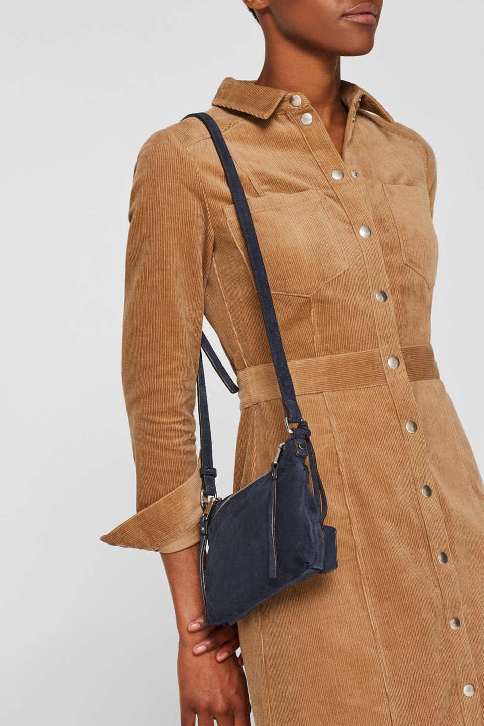 Suede shoulder bag, NAVY, detail image number 1