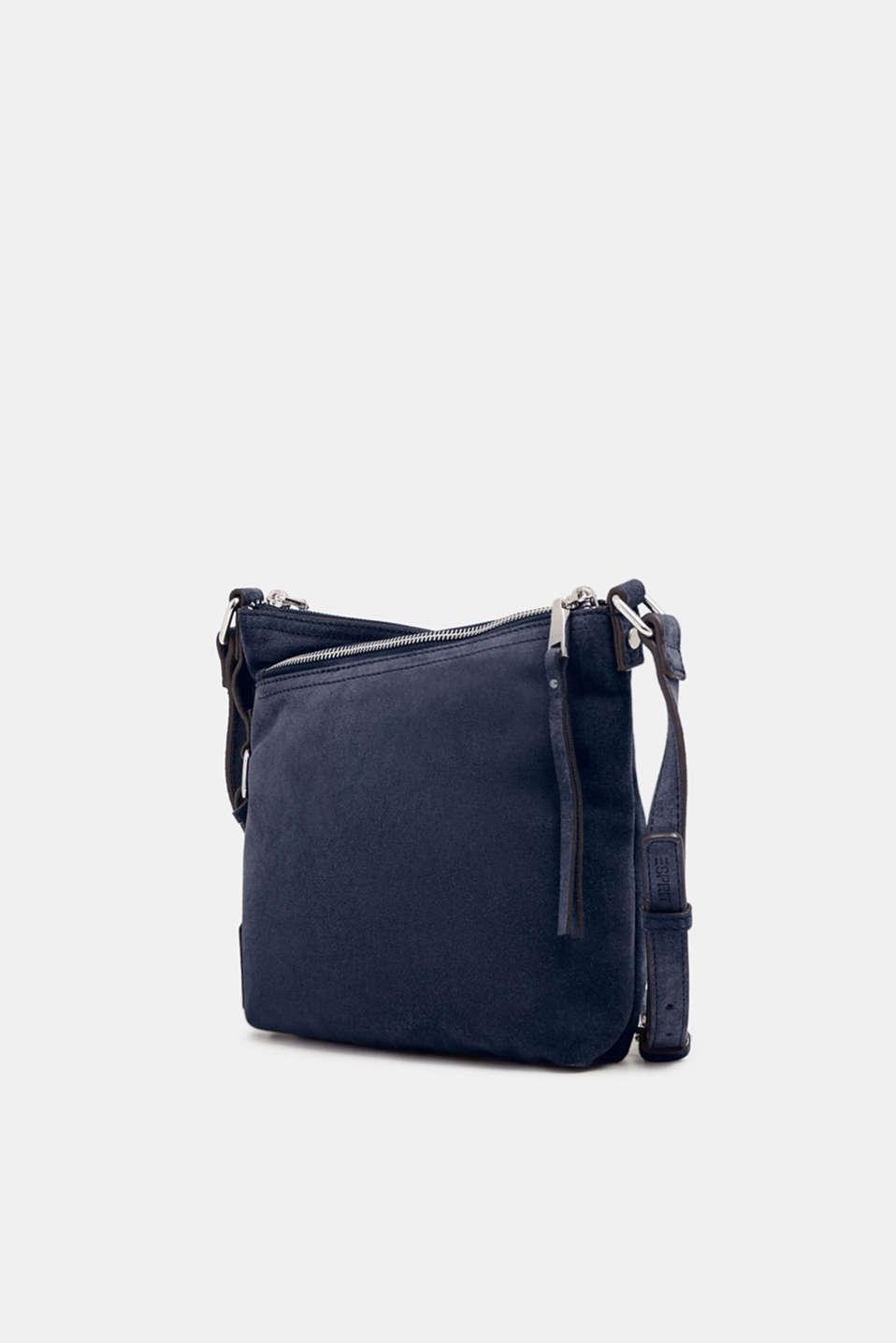 Suede shoulder bag, NAVY, detail image number 2