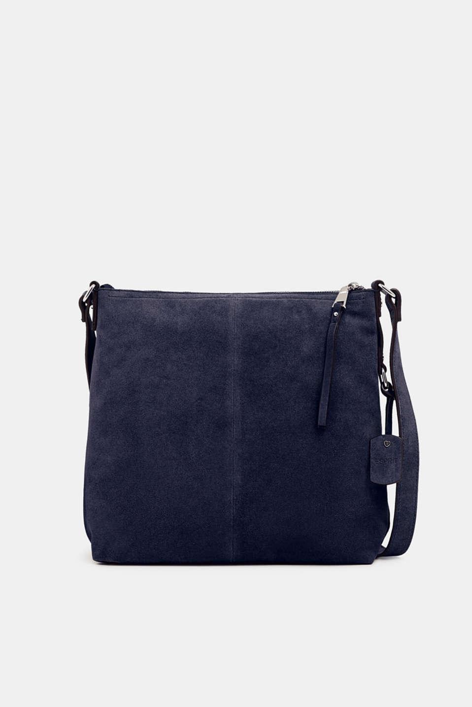 Leather shoulder bag, NAVY, detail image number 0