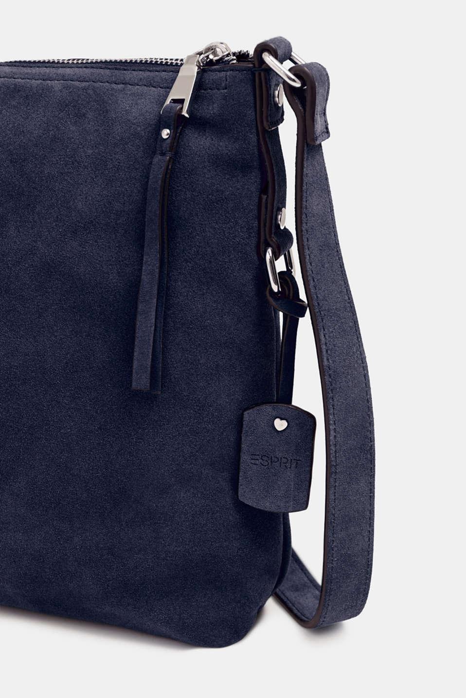Leather shoulder bag, NAVY, detail image number 3
