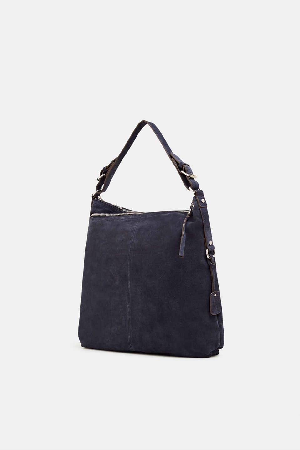 Leather hobo bag, NAVY, detail image number 2