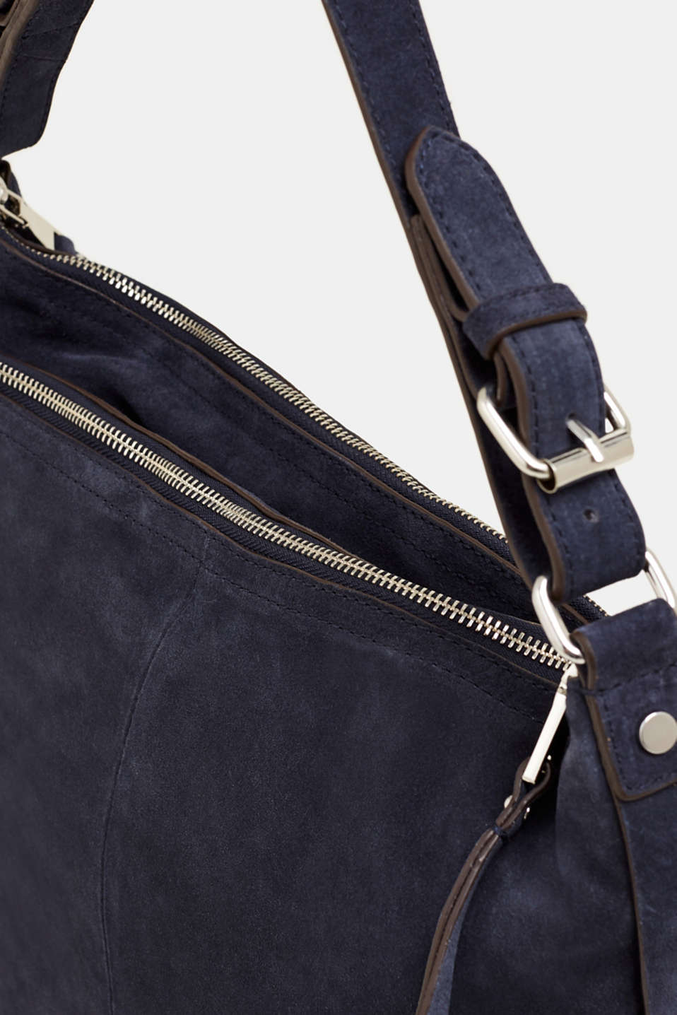 Leather hobo bag, NAVY, detail image number 3