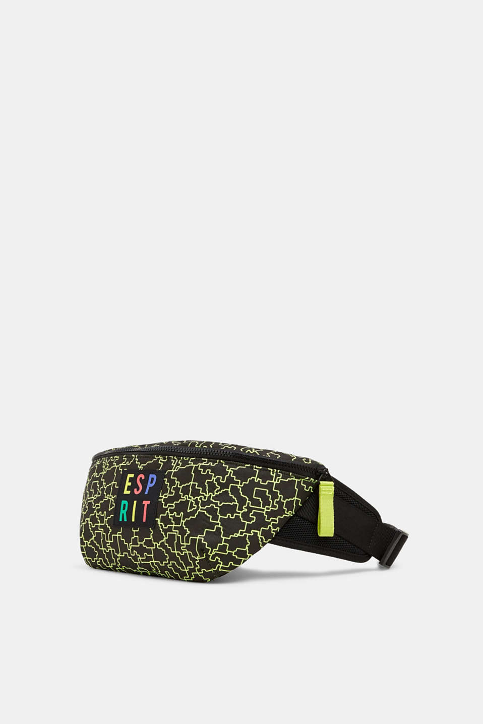 #throwback belt bag with a neon logo print, BLACK, detail image number 2