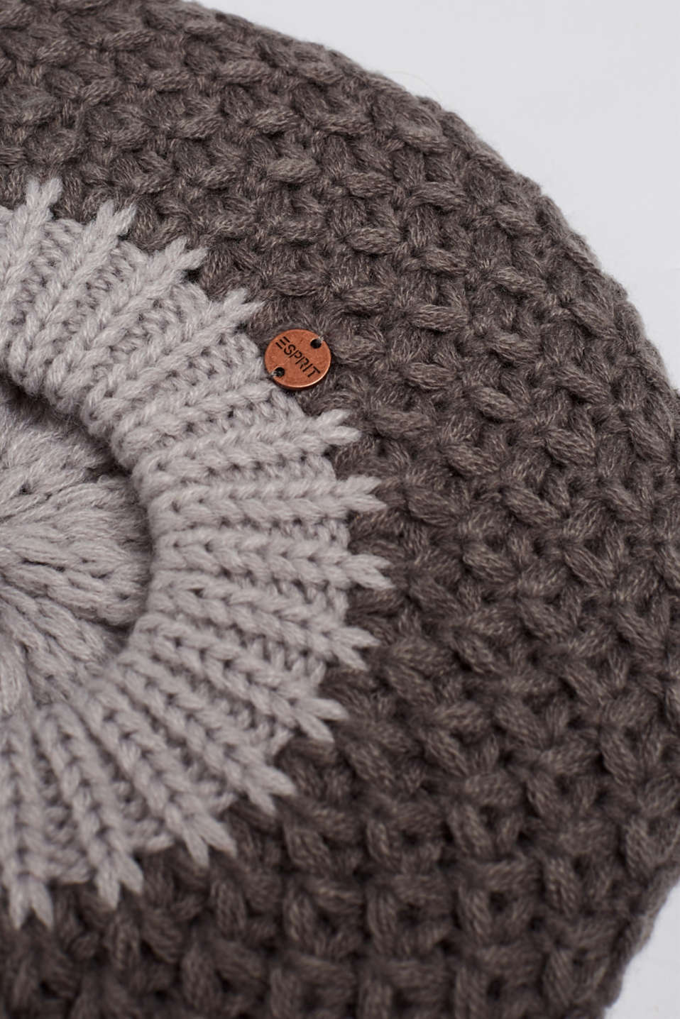 Chunky-knit beret, GREY, detail image number 1