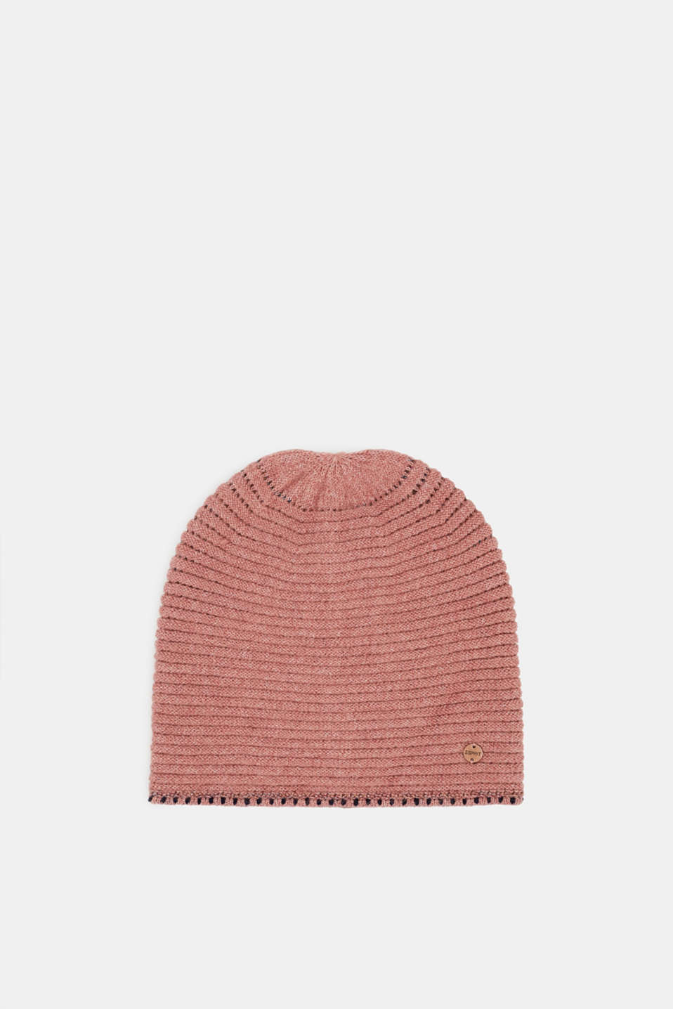 Blended wool: Beanie with textured stripes, MAUVE, detail image number 0