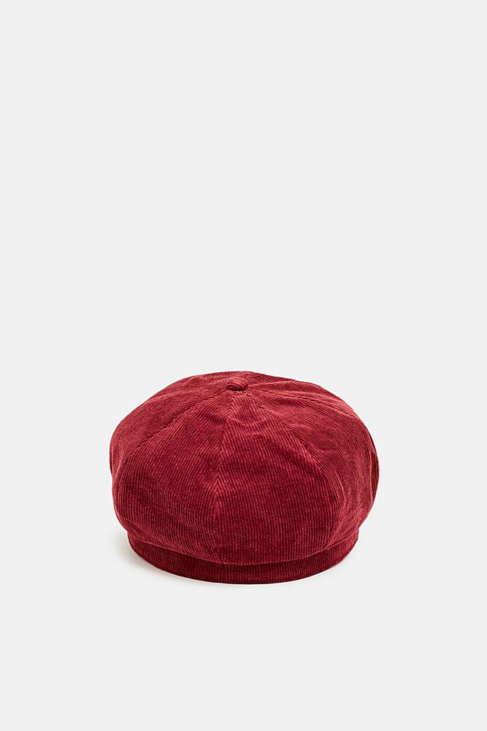 Corduroy sailor's cap, BORDEAUX RED, detail image number 3