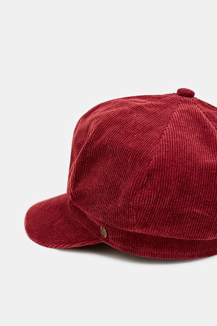 Corduroy sailor's cap, BORDEAUX RED, detail image number 1