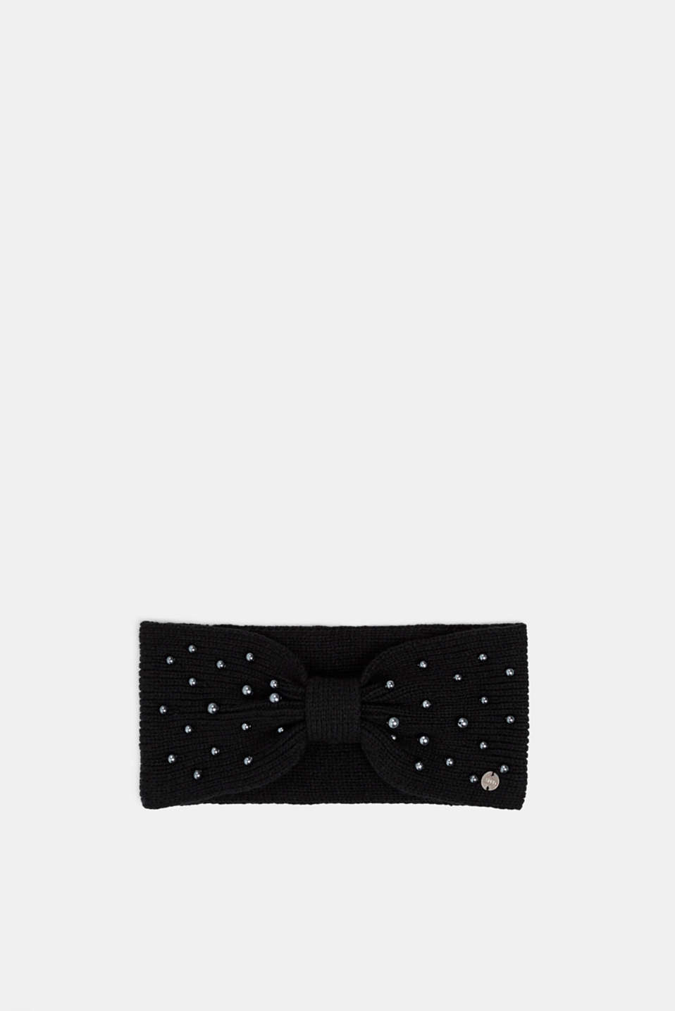 Headband with bead trim, BLACK, detail image number 0