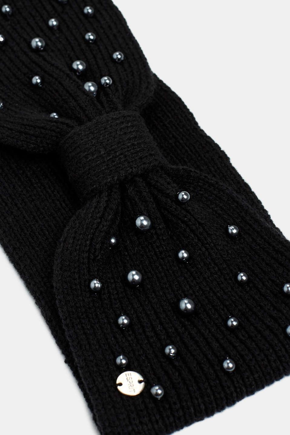 Headband with bead trim, BLACK, detail image number 1