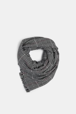 Wool-effect scarf with a Prince of Wales check pattern, BLACK, detail