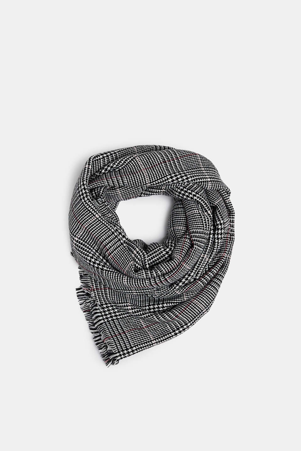 Wool-effect scarf with a Prince of Wales check pattern, BLACK, detail image number 0