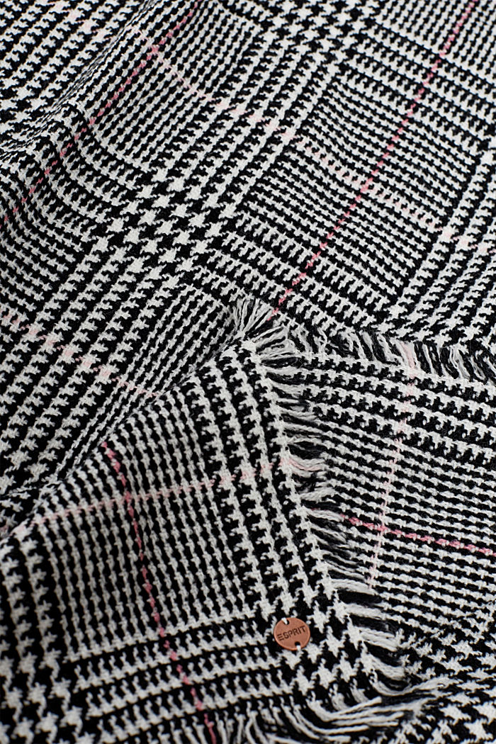 Glencheck-Schal in Woll-Optik, BLACK, detail image number 1