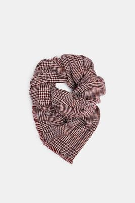 Wool-effect scarf with a Prince of Wales check pattern, DARK RED, detail