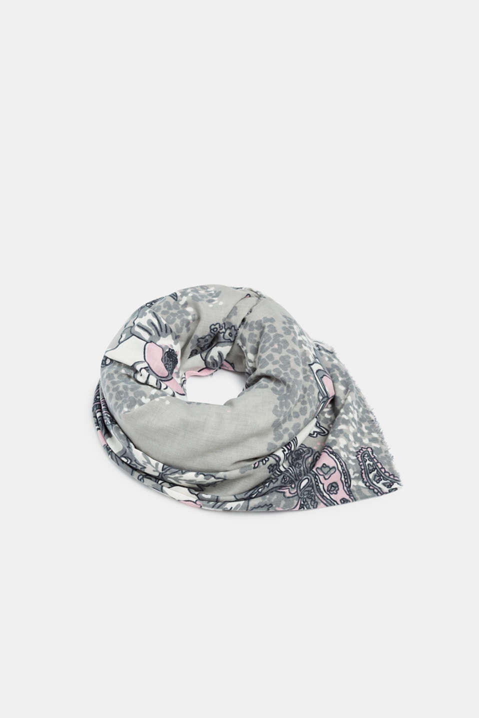 Scarf with a paisley floral print, GREY, detail image number 0