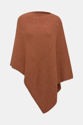 Containing wool and alpaca: poncho in a melange finish, TOFFEE, detail
