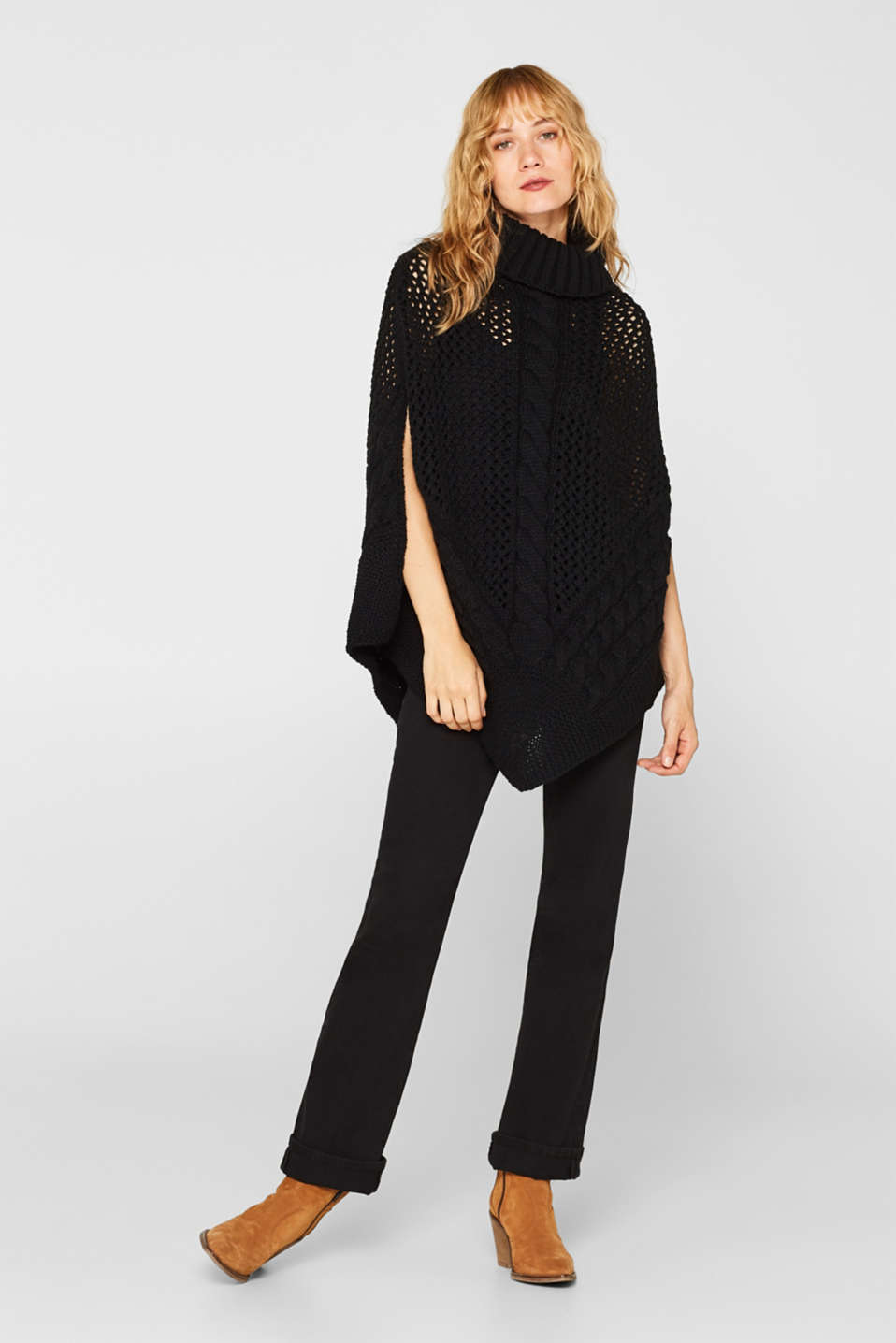 Chunky knit poncho with a cable pattern, BLACK, detail image number 5